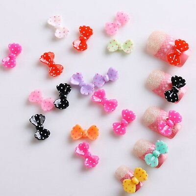 20pcs 3D Mix Color Bow Rhinestone DIY Nail Art Decoration Nail Tips White Pink