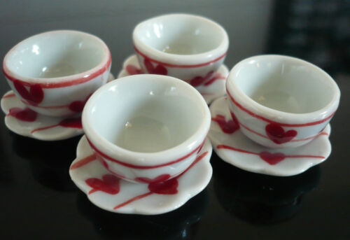 8 Hand Paint Red Heart Bowl and Plate Dollhouse Miniatures Food Deco
