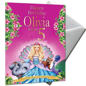 Barbie Princesse Personnalise Carte Anniversaire Grande Fille Filles A5 Ebay