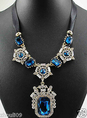 New Design colourful multi Pendent Bib Chunky Statement crystal Necklace q671