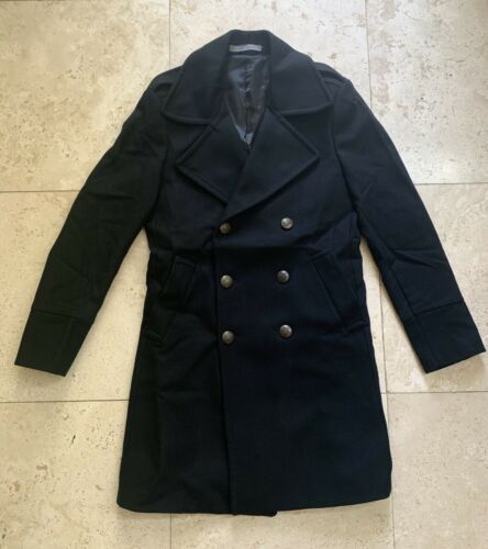 Zara Mens Double Breasted Black Wool Winter Coat