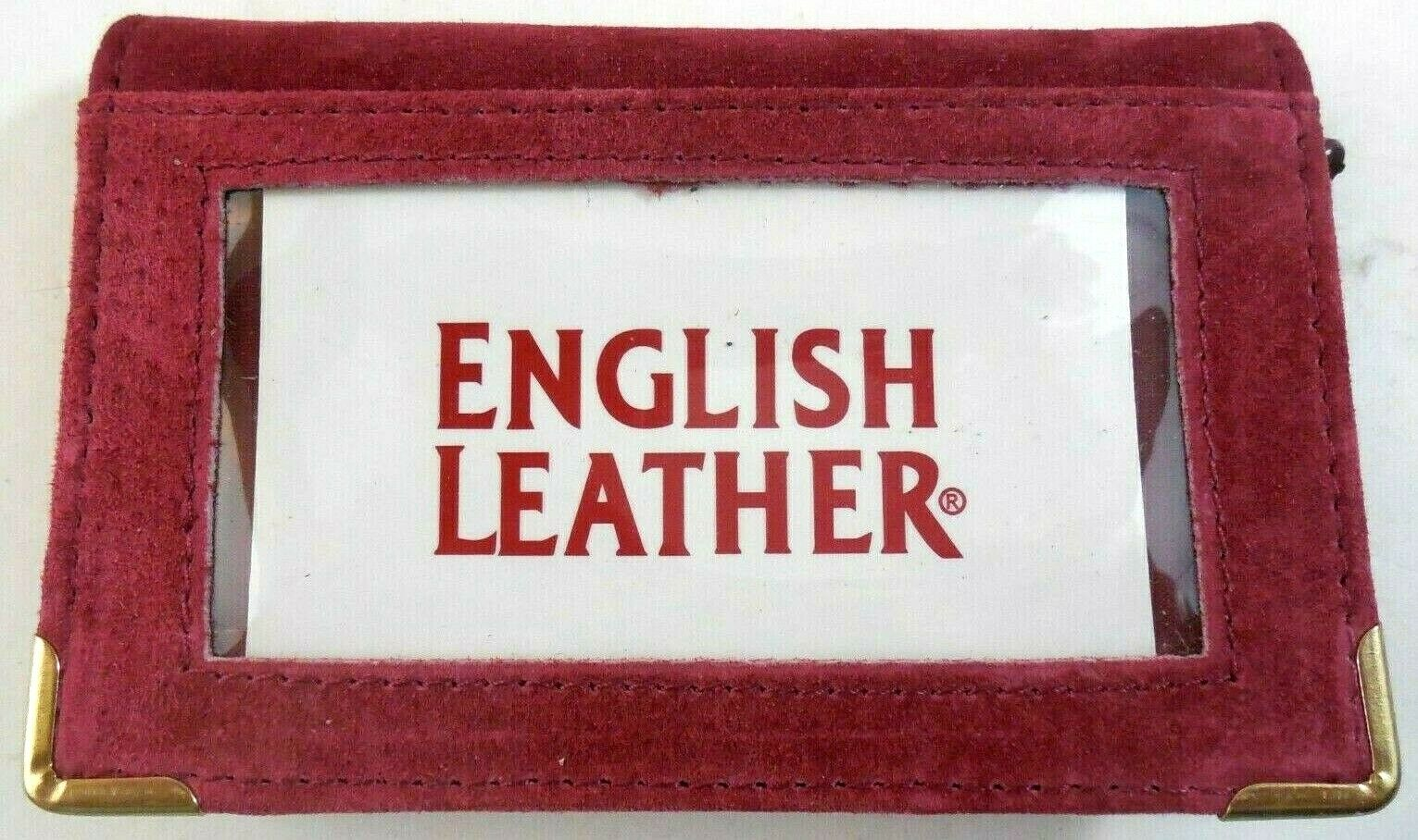 English Leather Burgundy Suede Wallet For Photos And Credit Cards Zippered