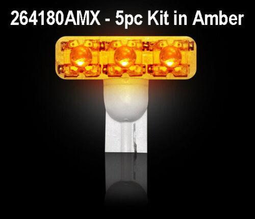 Bulbs In Amber 5pc Kit # 264180AMX Recon 194 Type 1-Watt High Power L.E.D
