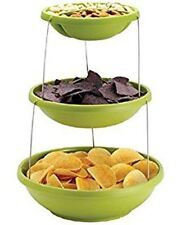 Green Snacks Display Décor Kitchen Table Twist& Fold Flat 3 Tier Party Bowl