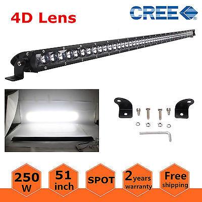 "51/"" 250W 4D Lens CREE Slim Single Row LED Light Bar Spot Boat Jeep Truck Driving"