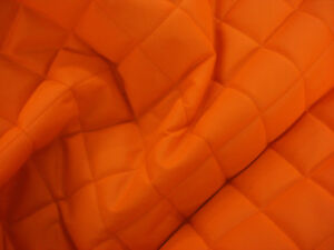 QUILTED-FABRIC-Waterproof-UK-Manufactured-Outdoor-Jacket-Upholstery-Flo-Orange