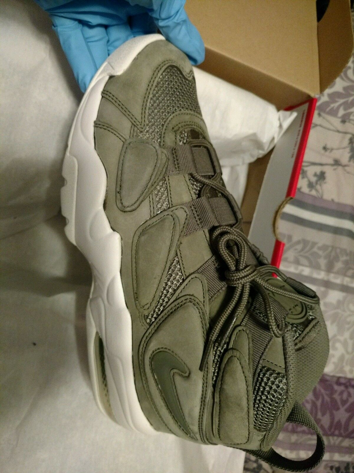 Nike Uptempo Size 9.5 Olive And White