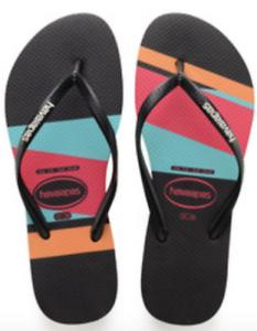 0c693e7dabe2 Havaianas Women`s Flip Flops Slim Color Block Sandals Black w White ...