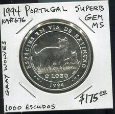 PORTUGAL - SPECTACULAR RARE GRAY WOLVES SILVER 1000 ESCUDOS, 1994