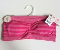 Gb Girl's Bra Strapless Pink Stripped Size Medium Removable Pads