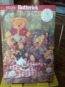 Oop-Butterick-Beardeaux-Bears-5029-teddy-family-jointed-7-5-15-034-clothes-NEW