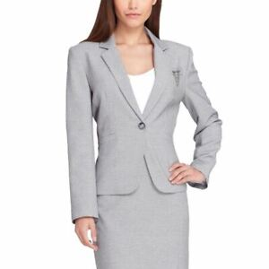 TAHARI-ASL-NEW-Women-039-s-Gray-One-button-Lined-Blazer-Jacket-Top-8-TEDO