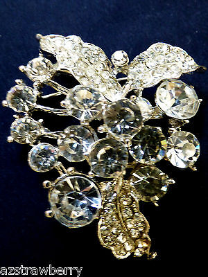 VTG SILVER TONE CLEAR CRYSTAL FLORAL DESIGN  FANTASTIC  PIN BROOCH