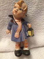 Vintage Japan Lipper And Mann Porcelain Figurine Boy Holding A Lantern 1950s