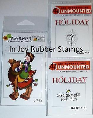 Art Impressions CHRISTMAS Cling Stamp Lot WISEMAN CAMEL STAR STILL SEEK HIM