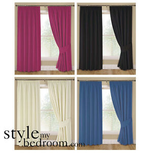 Pair-Fully-Lined-Plain-Curtains-in-4-Colours-amp-7-Sizes-incl-Tie-Backs