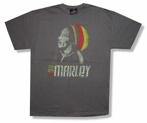 Bob-Marley-a-Rayures-Bonnet-Homme-Heather-Brown-T-Shirt-Nouveau-Officiel-Reggae-Music