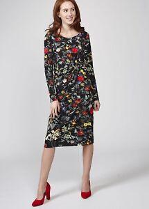 NEW-10-JOE-BROWNS-Into-The-Night-Black-Floral-Knee-Length-Long-Sleeve-Dress