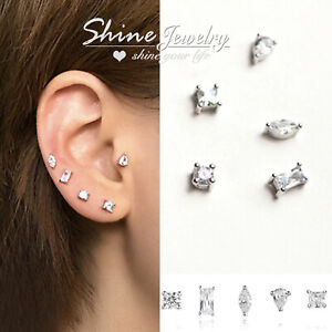 Details About Gem Diamond Geometric Sterling Silver Ear Cartilage Tragus Piercing Stud Earring