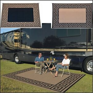 Reversible Outdoor Mat Rv Trailer Beach Camping Patio Mat 9 X 12