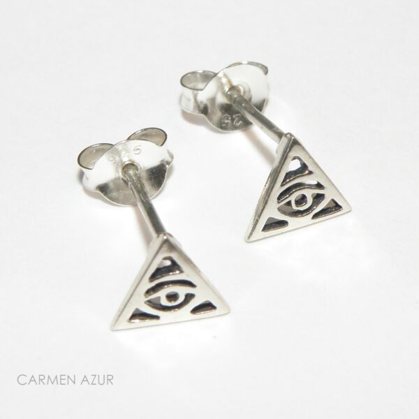 Solid 925 Silver Stud Earrings Illuminati Eye/all Seeing Eye New With Gift Bag Chinesische Aromen Besitzen