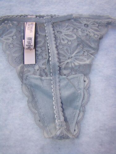 New VICTORIA/'S SECRET Gray Floral Lace Nylon V String Underware Panties