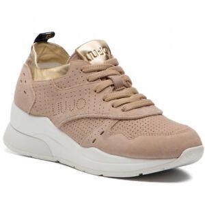 best sneakers f7a1e 587cf Dettagli su Sneakers Donna Liu Jo Karlie Scarpe Pelle Scamosciata Sabbia  Rosse Oro Nuove