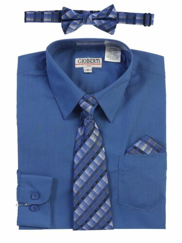 Boys Dress Shirt Long Sleeve Button Down and Plaid Tie Set Formal Toddler 2T-18
