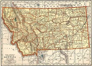 photograph relating to Printable Map of Montana known as Information relating to 1937 Antique MONTANA MAP Nation Map of Montana Print Gallery Wall Artwork 5936