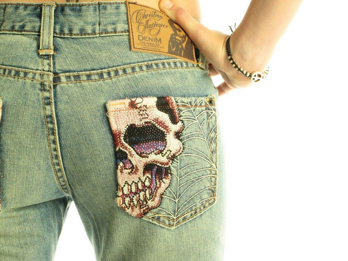 CHRISTIAN AUDIGIER Russell Luxury Designer damen Decorative Stiefelcut Skull Jeans