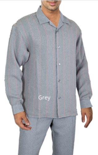 Mens 2 Piece Walking Suit Outfit Black//Grey Dressy Casual Shirt//Pants Set new