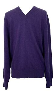 NEW-BROOKS-BROTHERS-MEN-039-S-CASHMERE-PURPLE-V-NECK-SWEATER-M-468