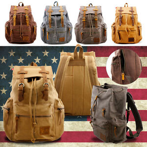 Men Women Vintage Army Canvas Backpack Rucksack School Satchel Travel Hiking Bag