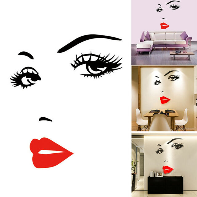 Removable Wallpaper Sexy Girl Lip Eyes Wall Sticker Room Decor Decals Art Poster