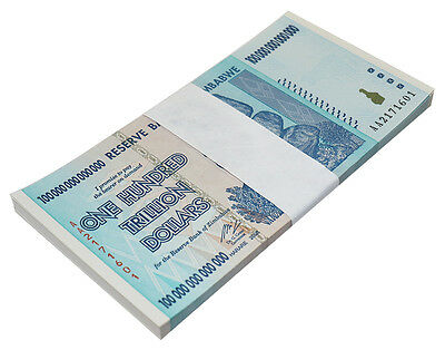 Zimbabwe 100 Trillion Dollars X 50 Pieces (PCS), AA/2008, P-91, UNC, Half Bundle