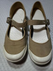 women's dansko beige canvas mary jane style casual shoes