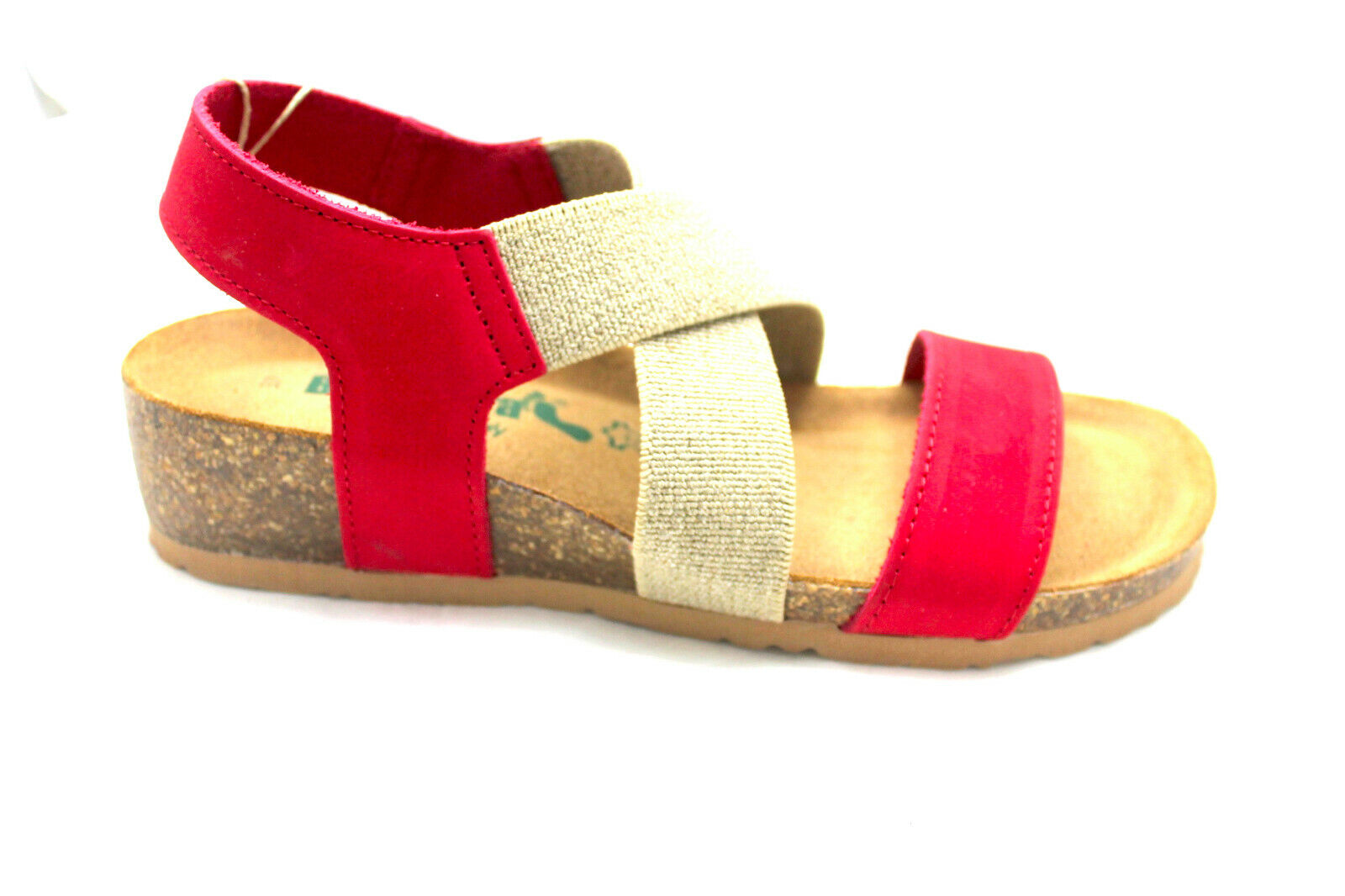 Women Sandal BioNatura 12 to 998 Nubuck Red Footbed Comfort Elastic incrociat