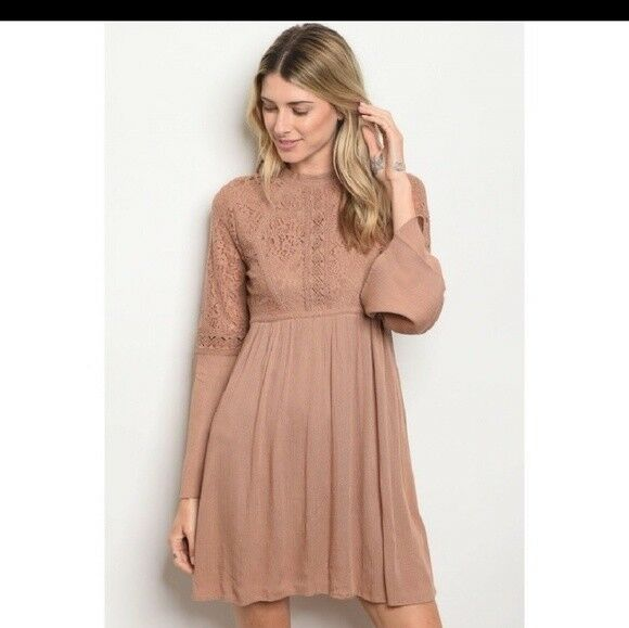 NWT Boho  lace dress taupe