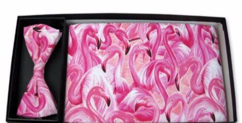 Pink Flamingo Cummerbund and Bow Tie Set