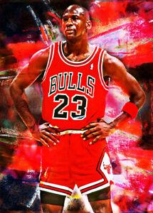 2021 Michael Jordan Bulls Basketball 2/25 Art ACEO Print Card By:Q
