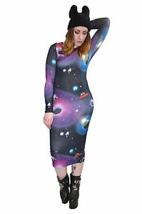 Details about Ladies Plus Size UFO Planets Galaxy Long Sleeves Midi Bodycon  Dress Size 6 To 34