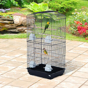 "PawHut 36"" Bird Cage Pet Play House Parrot Finch Cockatoo Macaw 2 Doors Perch"