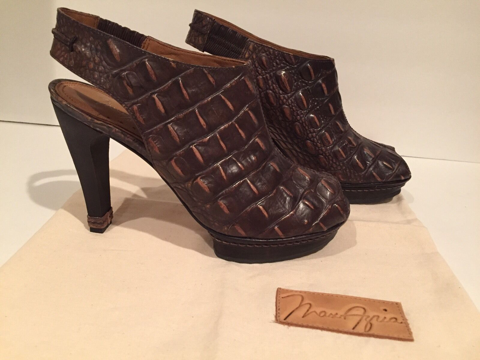 Max Azria Slingbacks Sandales Open Toe Croc Leder Slingbacks Azria Distressed Braun 37.5/7-7.5 6c6a95