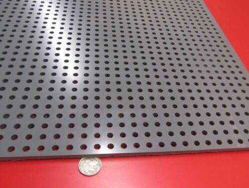 """Straight 1//4/"""" Thick x 24/"""" x 24/"""" 1//4/"""" Dia Hole PVC Type I Perforated Sheet"""
