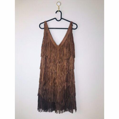 Haute Hippie Brown Suede Leather Fringe Ombré Dres