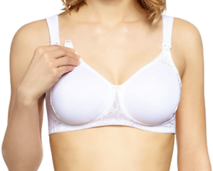 Front fastening soft white non padded non wired half laced cups 40 C