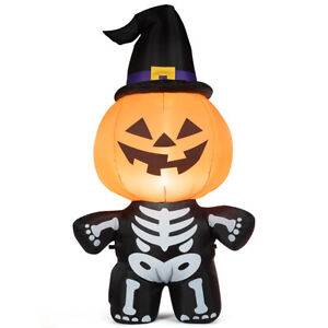 5-039-Halloween-Inflatable-Pumpkin-Skeleton-Lantern-w-Witch-Hat-amp-Smiling-Face