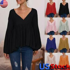 US-Women-V-Neck-Casual-Solid-T-Shirt-Tops-Ladies-Long-Sleeve-Loose-Tunic-Blouse