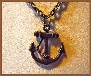 Marine Collier Homme Du Pendentif Bronze Ancre De Détails Sur Cou Ras OZikXPwuT