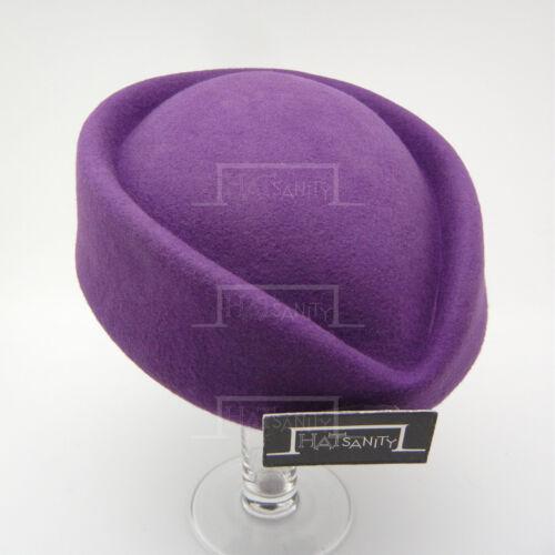 Vintage Wollfilz Damen Pillbox Hut Damen Kopfschmuck Formell Party Neu Violett